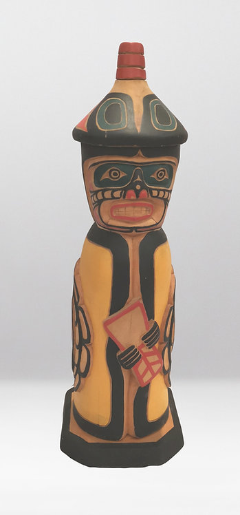 Kwagiutl Chief, hand carved wood Totem by Patrick Hunt age 15,  Sisiutl Chilkat