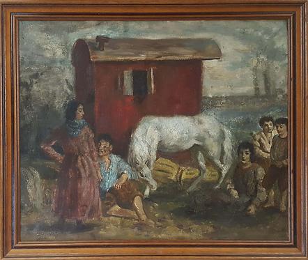 Camille Liausu (French 1894-1975) 'Les bohémiens' oil on canvas, c1920