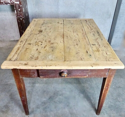A 19th C Canadian pine farm table, original red paint, c1840
