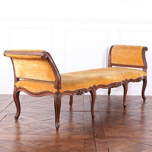 A 19th C French carved walnut bench with mohair upholstery, circa 1880