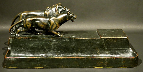 An early 20th C Austrian figural bronze inkstand, Friedrich Gornik, c1920