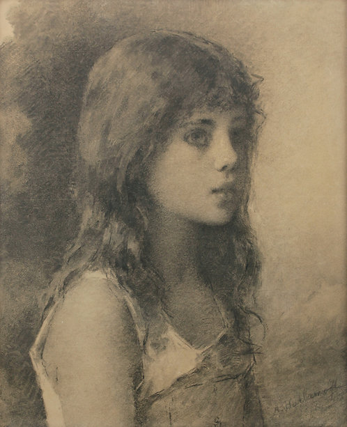 Alexis Harlamoff (Russian 1842-1915)  Portrait of Girl