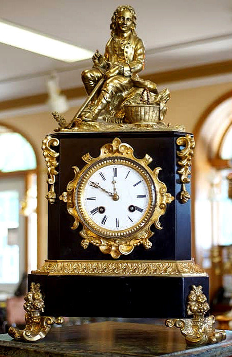 A handsome mid 19th C French bronze & marble mantle clock, Frèdèric Japy, c1855