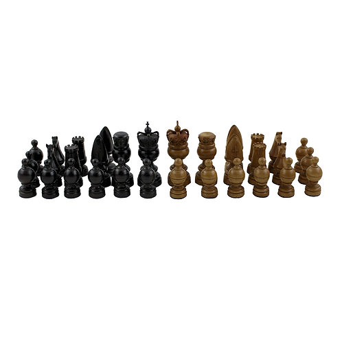 A finely carved & turned wooden chess set, inspired by William Lund of London