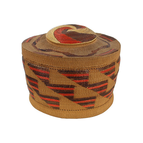 Tlingit Spruce Root Rattle Top Basket, handwoven twined spruce root basket c1880