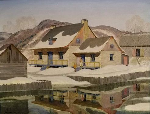 """Harold Beament (Canada, 1898 - 1984) """"Early Spring Thaw"""" oil on canvas"""
