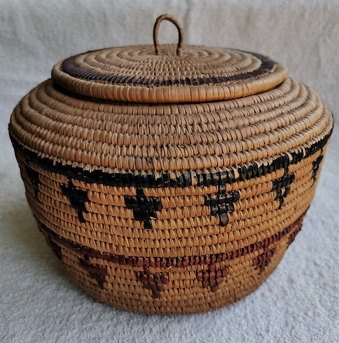An early 20th C North American imbricated basket, Salish attrib. to Agnes Malone