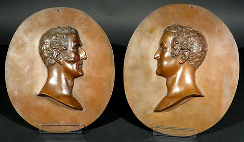 A pair of 19th C electrotype copper portrait reliefs of Wellington & Napoleon