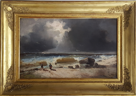 Émile Godchaux (1860-1938) 'Stormy coast' oil on canvas, c1890