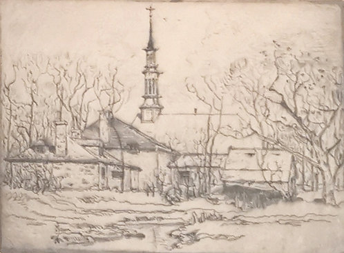 Robert Wakeham Pilot MBE RCA (Canadian 1898-1967) Chambly Church, etching, c1920