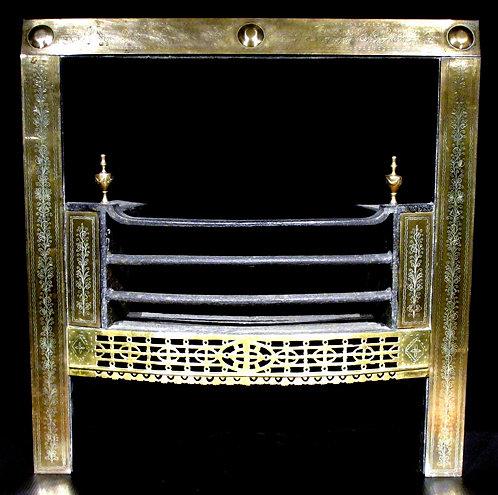A very fine 18th C Neoclassical brass register grate, Irish circa 1780