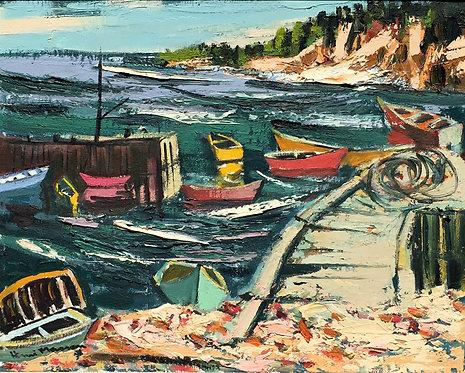 Henri Leopold Masson (Canadian 1907-1996) Neil's Harbour, Nova Scotia, 1965