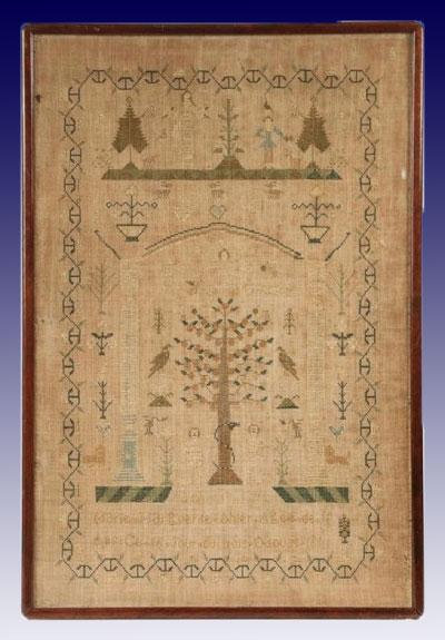A gorgeous Quebec pictorial sampler stiched by Mary Margeurite Ahier circa 1812