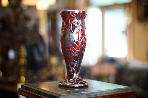 An early 20th C American made cranberry glass vase with silver overlay, c1900-10