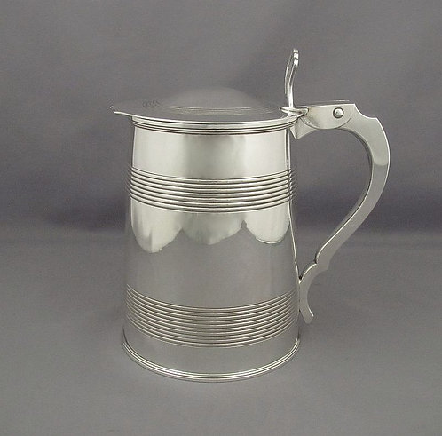 An exceptionally heavy George III silver tankard, marked HN London 1801