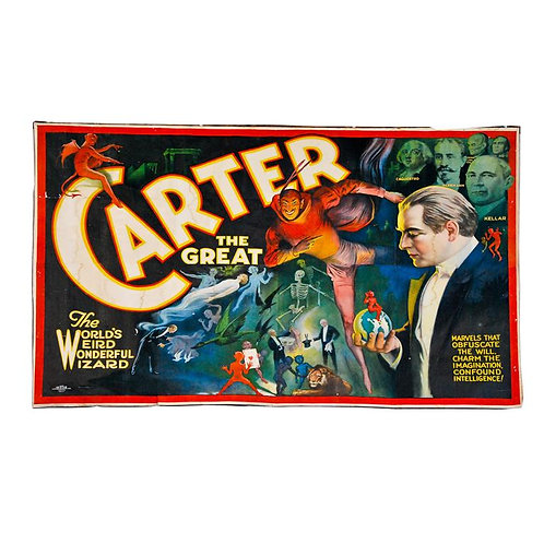 A large Folk Art magician banner 'Carter the Great' by Otis Lithograph Co. c1910