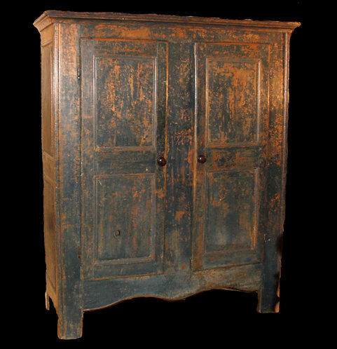 An early 19th C French Canadian armoire porte par dessus in original blue paint