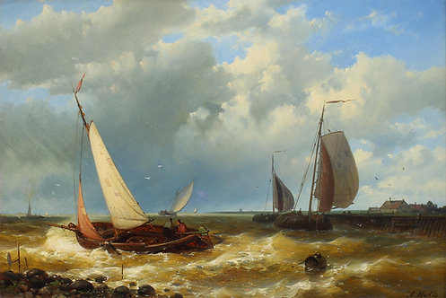 Abraham Hulk (Dutch 1813-1897) Shipping, oil on board