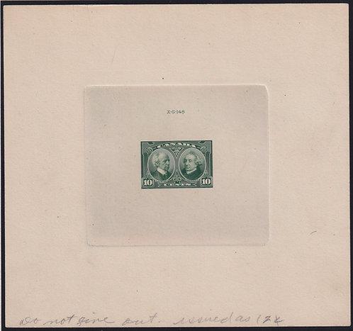 Canada Sc #147var 1927 10c Laurier & MacDonald Bluish Green Die Essay