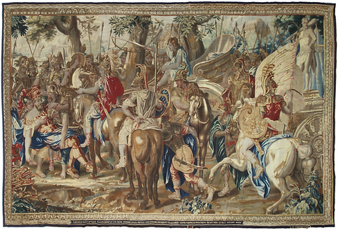 A fine & rare late 17th C Brussels historical tapestry: Alexander and Porus