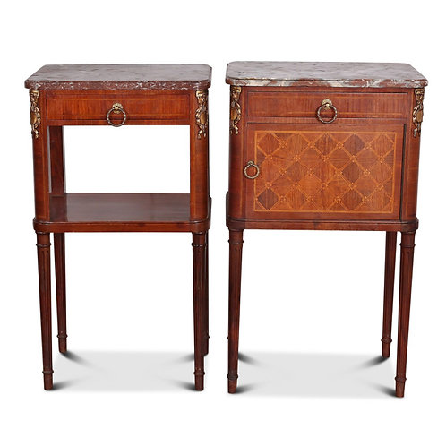 A pair of French inlaid Louis XVI-style marble-topped nightstands, c1910