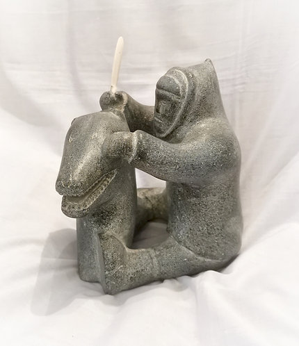 Inuit Soapstone by Josepie Saviakjuk, (b.1935 in Salluit) Hunter & Bear c1960
