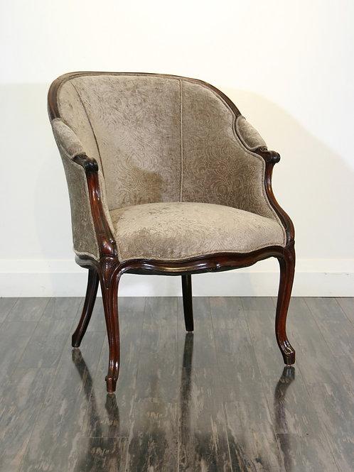 An English Hepplewhite George III period carved mahogany tub chair, c1780