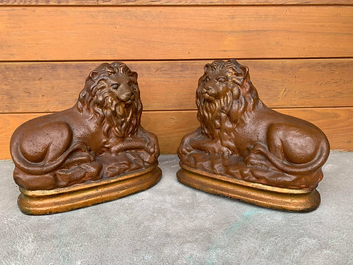A pair of 19th C chalkware lions