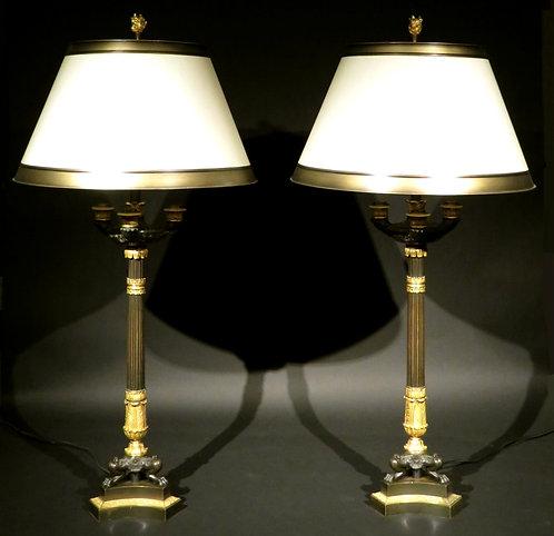 A fine pair of 19th C parcel gilt bronze table lamps, France circa 1830