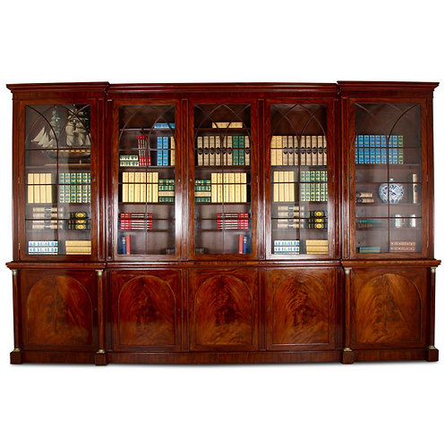A grandly-proportioned 19thc English flame mahogany library bookcase, c1840-50