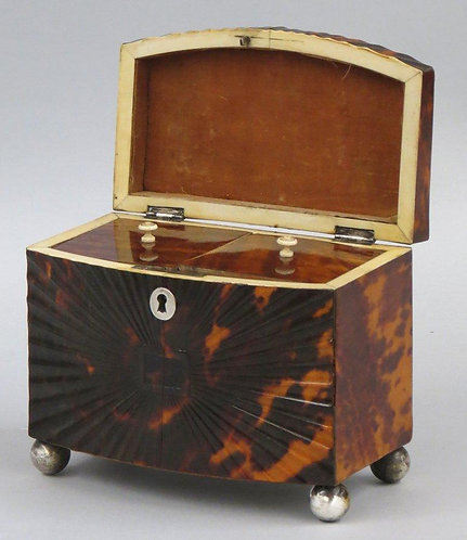 A late George III tortoiseshell tea caddy with embossed 'sunburst' pattern