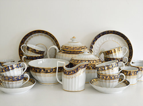 A 19th C English hard-paste porcelain tea and coffee service, c1830