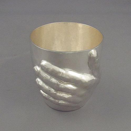 A handmade silver beaker by Canadian silversmith Ross Morrow, Halifax 2016