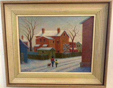 "Arthur Lidstone (1903-71) ""Snowy Lane off Wellesley St, Toronto, 1963"""