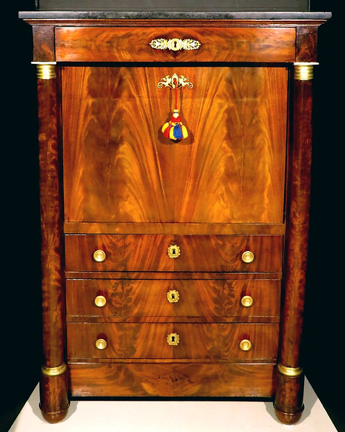 A very good First Empire secrétaire à abattant in flame mahogany, France c1820