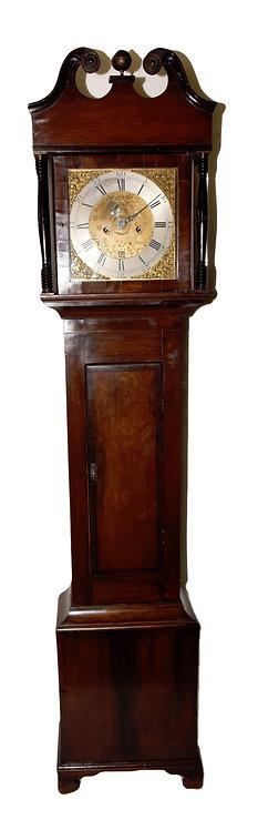 A George III oak & mahogany grandfather clock, English, works signed R.H. 1779