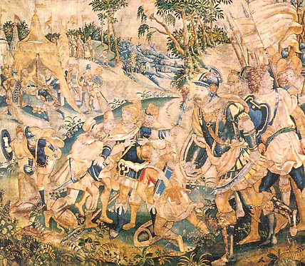 A fabulous late 16th C Flemish tapestry of Alexander the Great, c1590