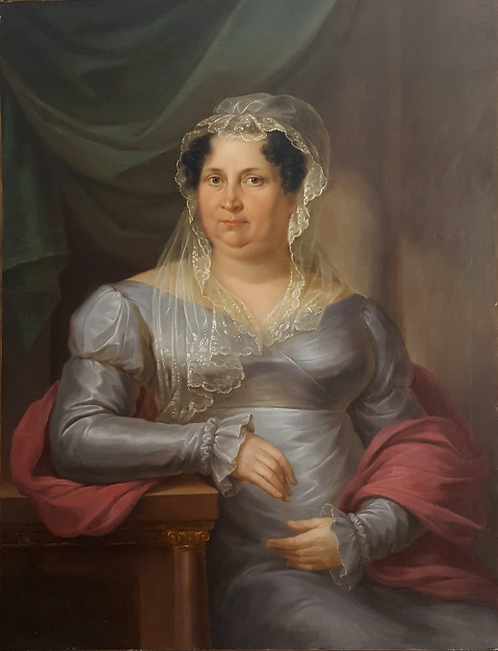 Antonín (Anton) Bayer (1768-1833) 'Portrait of a lady' oil on canvas, dated 1822