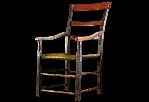 A mid 19th C Quebec armchair / fauteuil rustique à dossier chantourné Québecois
