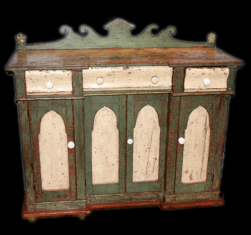 A mid 19th C Gothic-inpired French Canadian painted bahut / sideboard, Quebec
