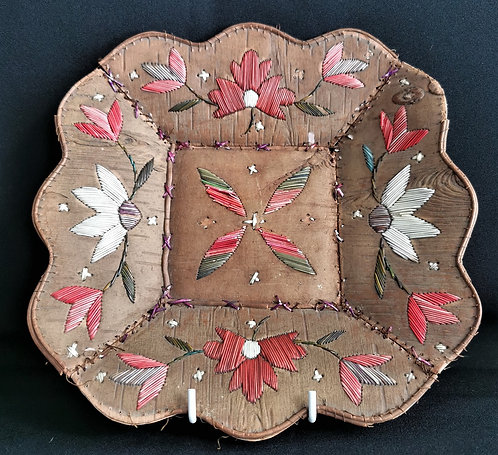 A 19th C Indigenous Canadian birch bark quill decorated tray, Ojibwa, Ontario