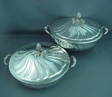 A pair of large continental .800 silver entree dishes, probably Czech circa 1930