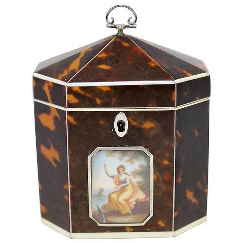 An extremely rare & fine George III octagonal tortoiseshell tea caddy