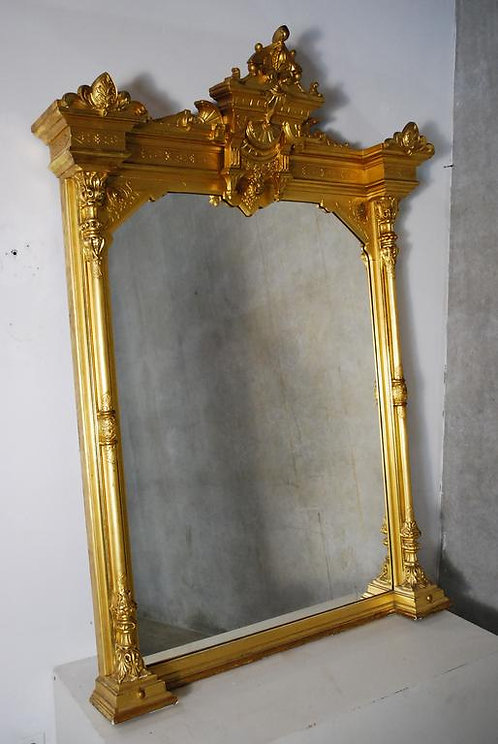 A 19th century American gilded overmantel mirror from a San Francisco hotel