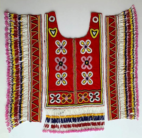 An exceptional set of Amauti (Inuit Parka) wool mounts with pictorial beadwork