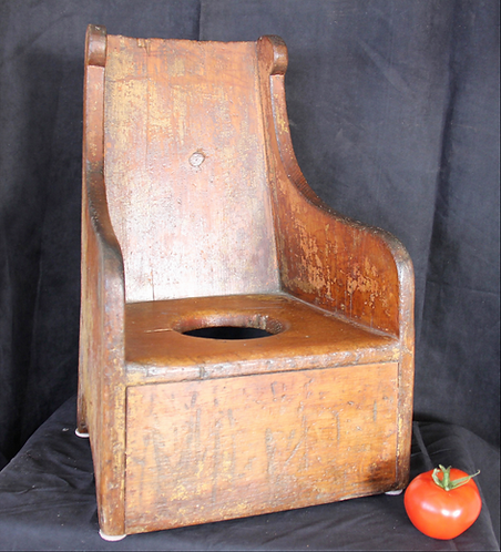 A mid 19th C French Canadian miniature children's commode chair