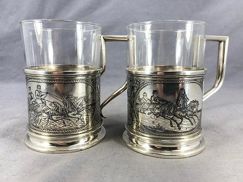 A fine pair of Russian silver tea glasses, Gustav Klingert, c1900