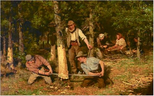 William Stuart MacGeorge RSA (Scottish, 1861-1931) Bark Peeling, 1889