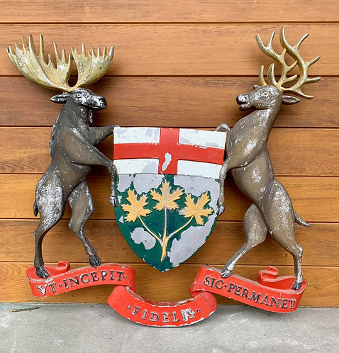 Early 20th C cast Coat of Arms for the Province of Ontario