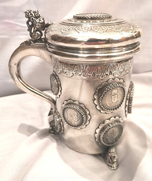 An Austro-Hungarian silver lidded tankard, dated to the Hapsburg Empire